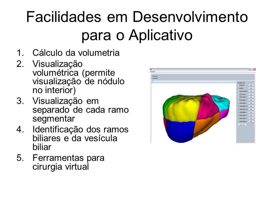 Facilidades em Desenvolvimento para o Aplicativo 1.Cálculo da volumetria 2.Visualização volumétrica (permite visualização de nódulo no interior) 3.Visualização em separado de cada ramo segmentar 4.Identificação dos ramos biliares e da vesícula biliar 5.Ferramentas para cirurgia virtual