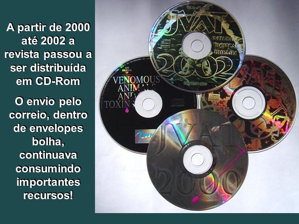 A partir de 2000 até 2002 a revista passou a ser distribuída em CD-Rom O envio pelo correio, dentro de envelopes bolha, continuava consumindo importan