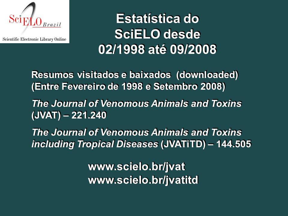 Resumos visitados e baixados (downloaded) (Entre Fevereiro de 1998 e Setembro 2008) The Journal of Venomous Animals and Toxins (JVAT) – 221.240 The Jo