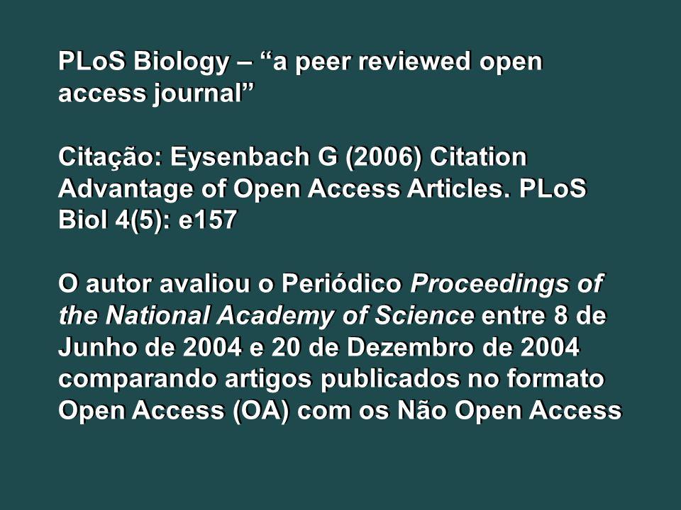 PLoS Biology – a peer reviewed open access journal Citação: Eysenbach G (2006) Citation Advantage of Open Access Articles. PLoS Biol 4(5): e157 O auto