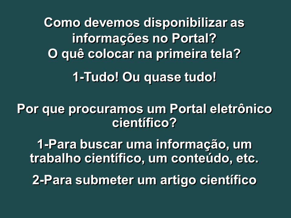 Como devemos disponibilizar as informações no Portal? O quê colocar na primeira tela? 1-Tudo! Ou quase tudo! Por que procuramos um Portal eletrônico c