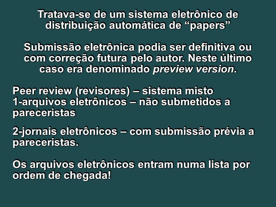 Tratava-se de um sistema eletrônico de distribuição automática de papers Submissão eletrônica podia ser definitiva ou com correção futura pelo autor.