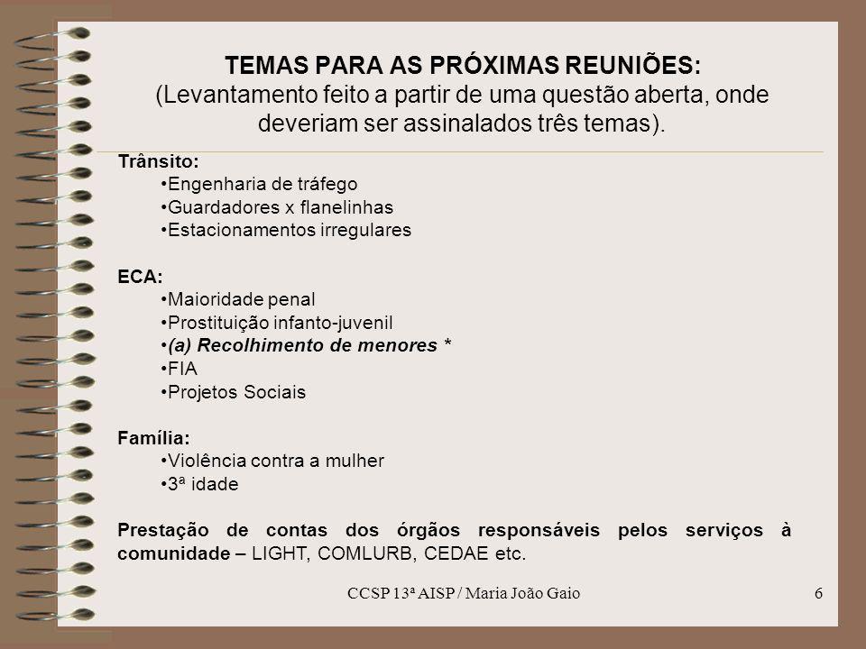 CCSP 13ª AISP / Maria João Gaio7 TEMAS PARA AS PRÓXIMAS REUNIÕES: (Levantamento feito a partir de uma questão aberta, onde deveriam ser assinalados três temas).