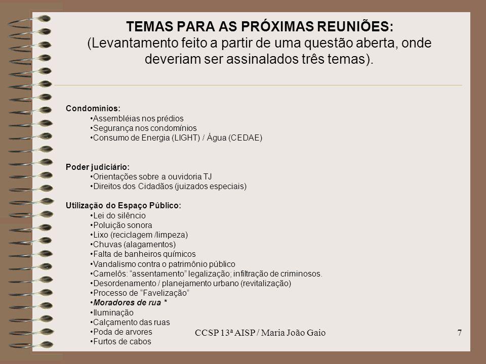 CCSP 13ª AISP / Maria João Gaio8 TEMAS PARA AS PRÓXIMAS REUNIÕES: (Levantamento feito a partir de uma questão aberta, onde deveriam ser assinalados três temas).