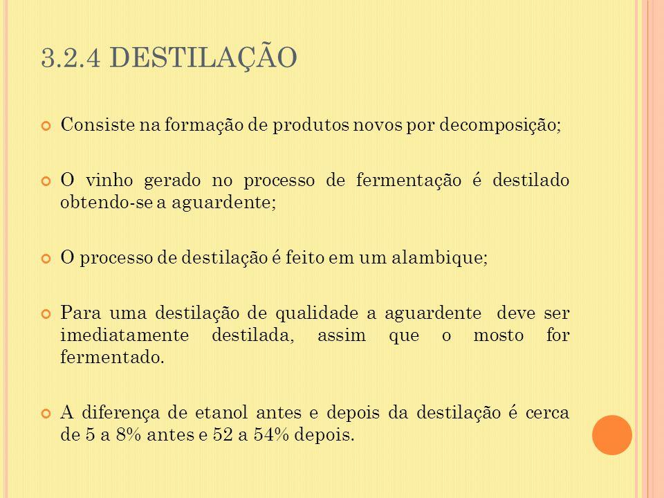 3.2.4 DESTILAÇÃO Consiste na formação de produtos novos por decomposição; O vinho gerado no processo de fermentação é destilado obtendo-se a aguardent