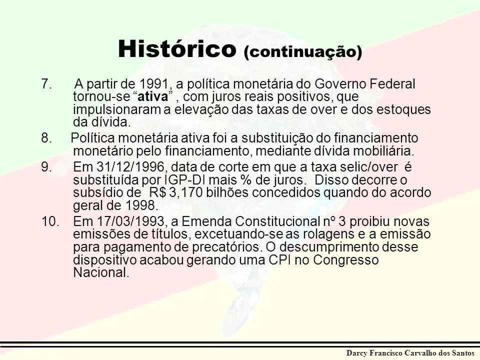 Darcy Francisco Carvalho dos Santos Histórico (continuação) 7. A partir de 1991, a política monetária do Governo Federal tornou-se ativa, com juros re