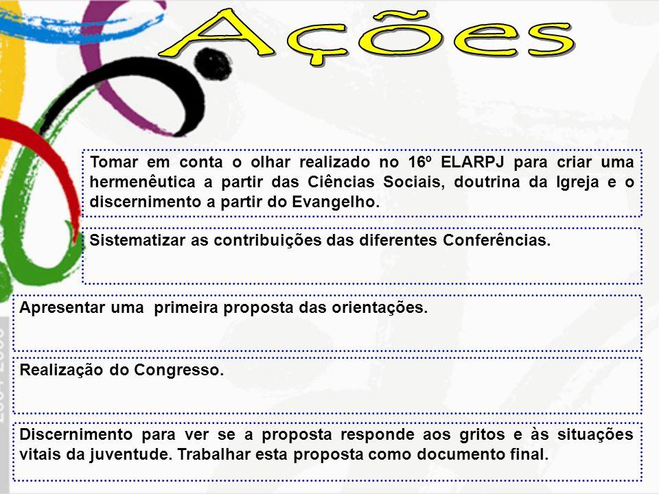 Tomar em conta o olhar realizado no 16º ELARPJ para criar uma hermenêutica a partir das Ciências Sociais, doutrina da Igreja e o discernimento a parti