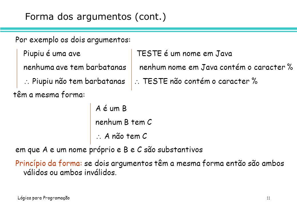 Lógica para Programação 11 Forma dos argumentos (cont.) Por exemplo os dois argumentos: Piupiu é uma ave TESTE é um nome em Java nenhuma ave tem barba