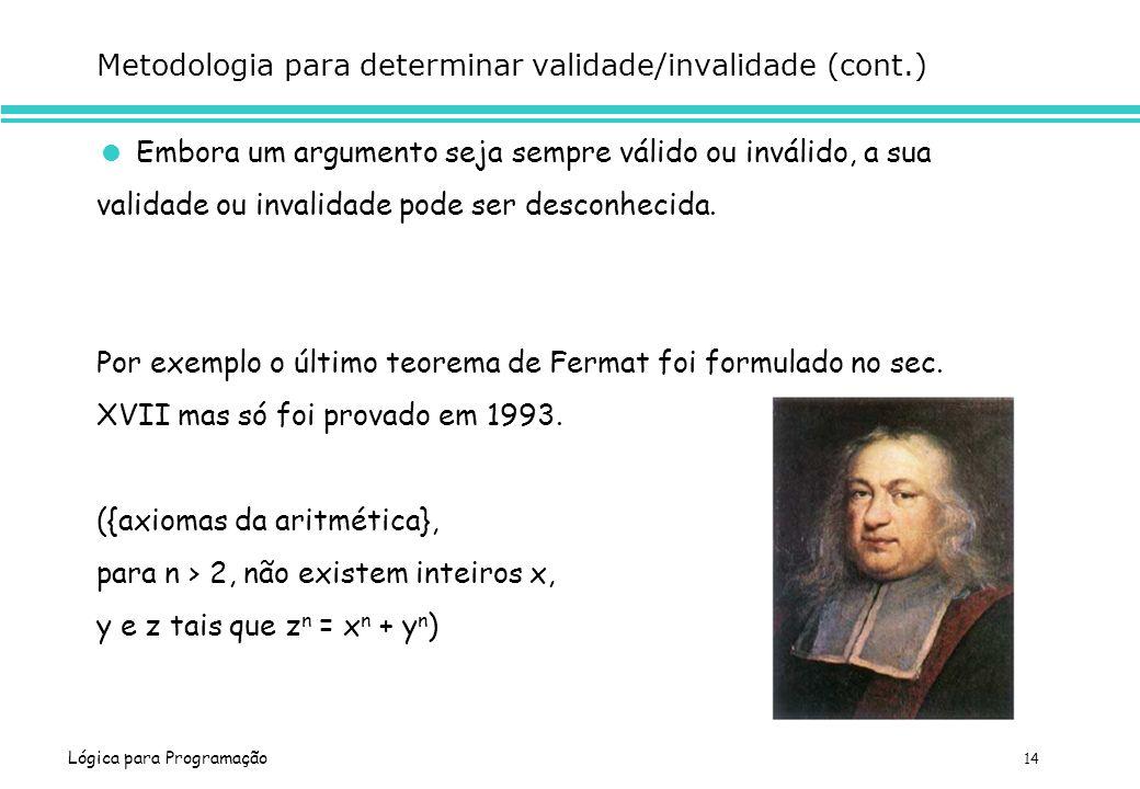 Lógica para Programação 14 Metodologia para determinar validade/invalidade (cont.) Embora um argumento seja sempre válido ou inválido, a sua validade