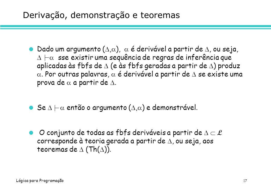 Lógica para Programação 17 Derivação, demonstração e teoremas Dado um argumento (, ), é derivável a partir de, ou seja, sse existir uma sequência de r