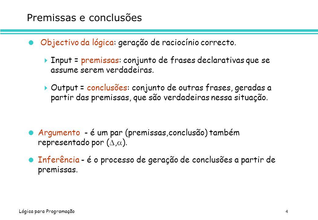 Lógica para Programação 4 Premissas e conclusões Objectivo da lógica: geração de raciocínio correcto. Input = premissas: conjunto de frases declarativ