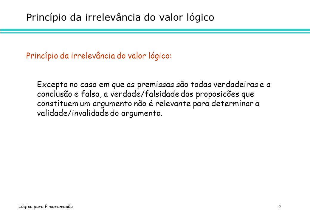 Lógica para Programação 9 Princípio da irrelevância do valor lógico Princípio da irrelevância do valor lógico: Excepto no caso em que as premissas são