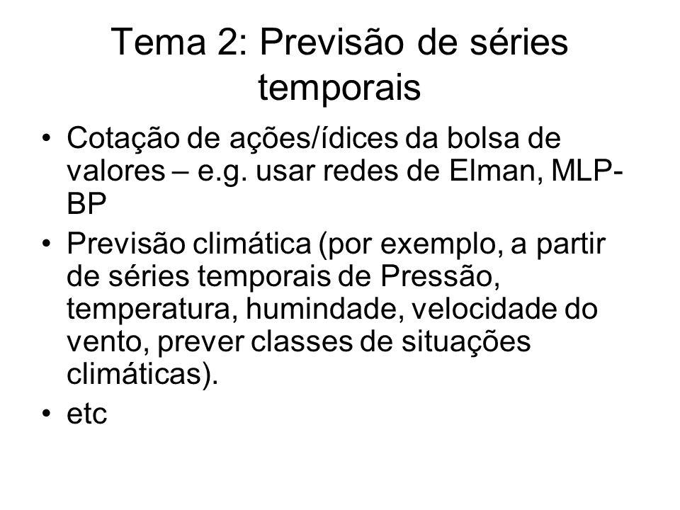 Tema 2: Previsão de séries temporais Cotação de ações/ídices da bolsa de valores – e.g.