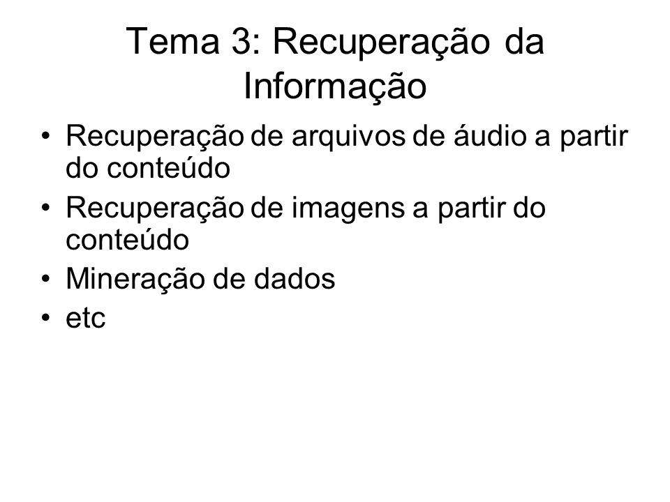 Tema 3: Recuperação da Informação Recuperação de arquivos de áudio a partir do conteúdo Recuperação de imagens a partir do conteúdo Mineração de dados etc