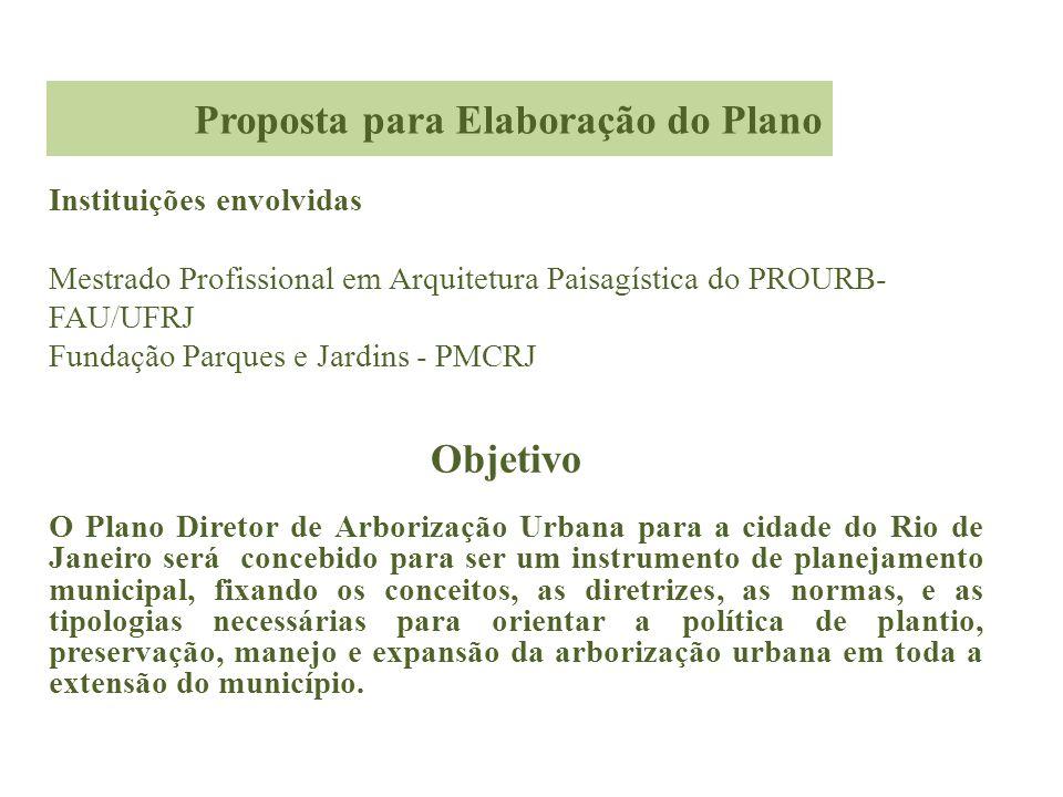 Objetivo O Plano Diretor de Arborização Urbana para a cidade do Rio de Janeiro será concebido para ser um instrumento de planejamento municipal, fixan