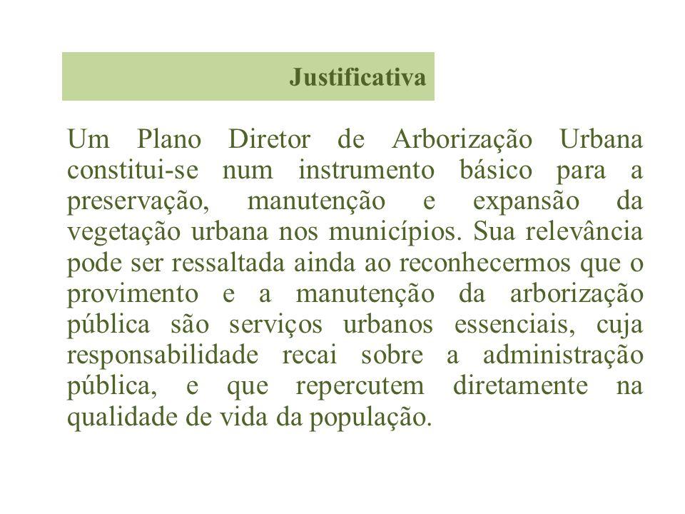 Justificativa Um Plano Diretor de Arborização Urbana constitui-se num instrumento básico para a preservação, manutenção e expansão da vegetação urbana