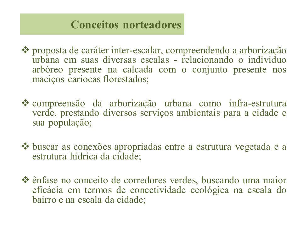 proposta de caráter inter-escalar, compreendendo a arborização urbana em suas diversas escalas - relacionando o individuo arbóreo presente na calcada