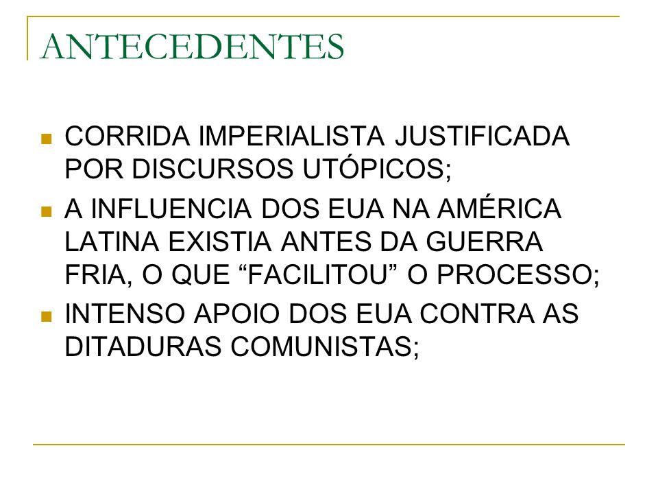 ANTECEDENTES CORRIDA IMPERIALISTA JUSTIFICADA POR DISCURSOS UTÓPICOS; A INFLUENCIA DOS EUA NA AMÉRICA LATINA EXISTIA ANTES DA GUERRA FRIA, O QUE FACILITOU O PROCESSO; INTENSO APOIO DOS EUA CONTRA AS DITADURAS COMUNISTAS;