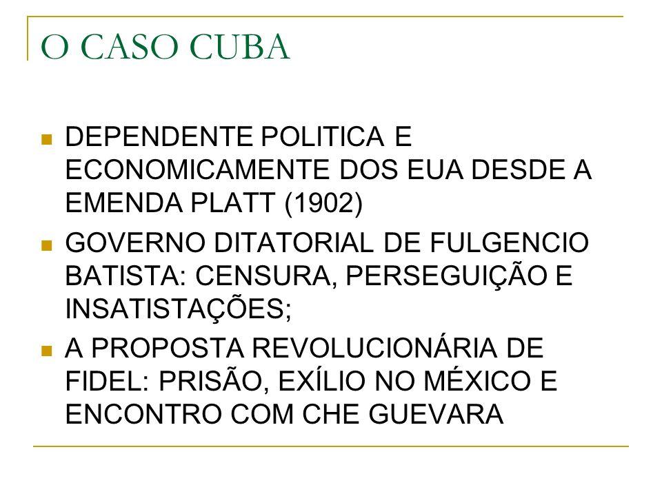 O CASO CUBA DEPENDENTE POLITICA E ECONOMICAMENTE DOS EUA DESDE A EMENDA PLATT (1902) GOVERNO DITATORIAL DE FULGENCIO BATISTA: CENSURA, PERSEGUIÇÃO E INSATISTAÇÕES; A PROPOSTA REVOLUCIONÁRIA DE FIDEL: PRISÃO, EXÍLIO NO MÉXICO E ENCONTRO COM CHE GUEVARA