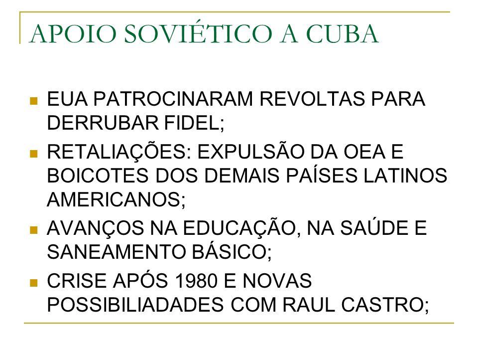 APOIO SOVIÉTICO A CUBA EUA PATROCINARAM REVOLTAS PARA DERRUBAR FIDEL; RETALIAÇÕES: EXPULSÃO DA OEA E BOICOTES DOS DEMAIS PAÍSES LATINOS AMERICANOS; AVANÇOS NA EDUCAÇÃO, NA SAÚDE E SANEAMENTO BÁSICO; CRISE APÓS 1980 E NOVAS POSSIBILIADADES COM RAUL CASTRO;