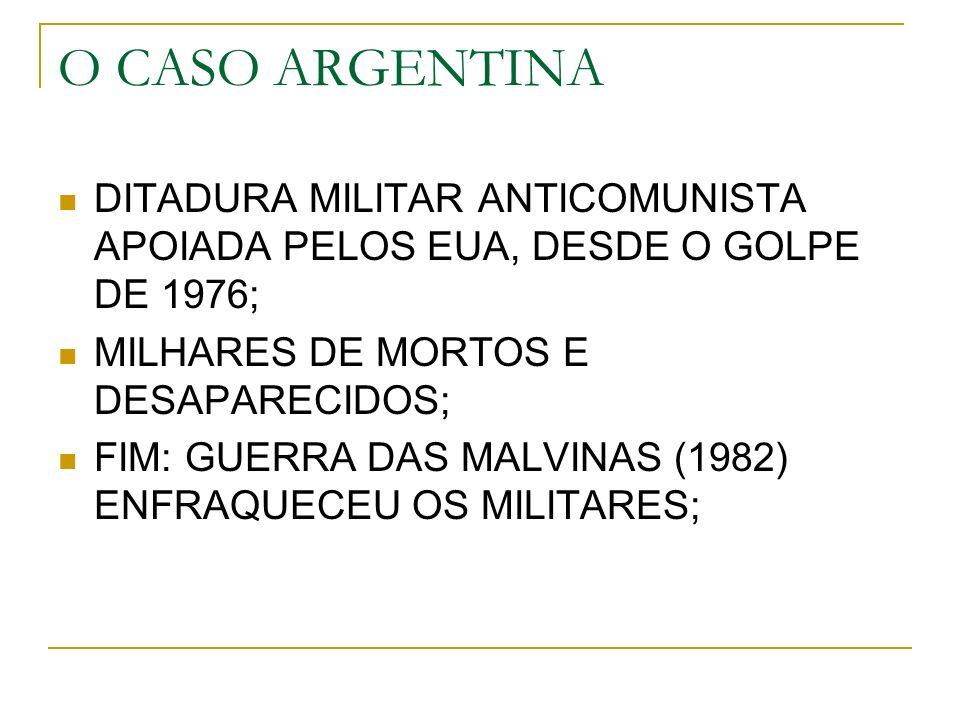 O CASO ARGENTINA DITADURA MILITAR ANTICOMUNISTA APOIADA PELOS EUA, DESDE O GOLPE DE 1976; MILHARES DE MORTOS E DESAPARECIDOS; FIM: GUERRA DAS MALVINAS (1982) ENFRAQUECEU OS MILITARES;