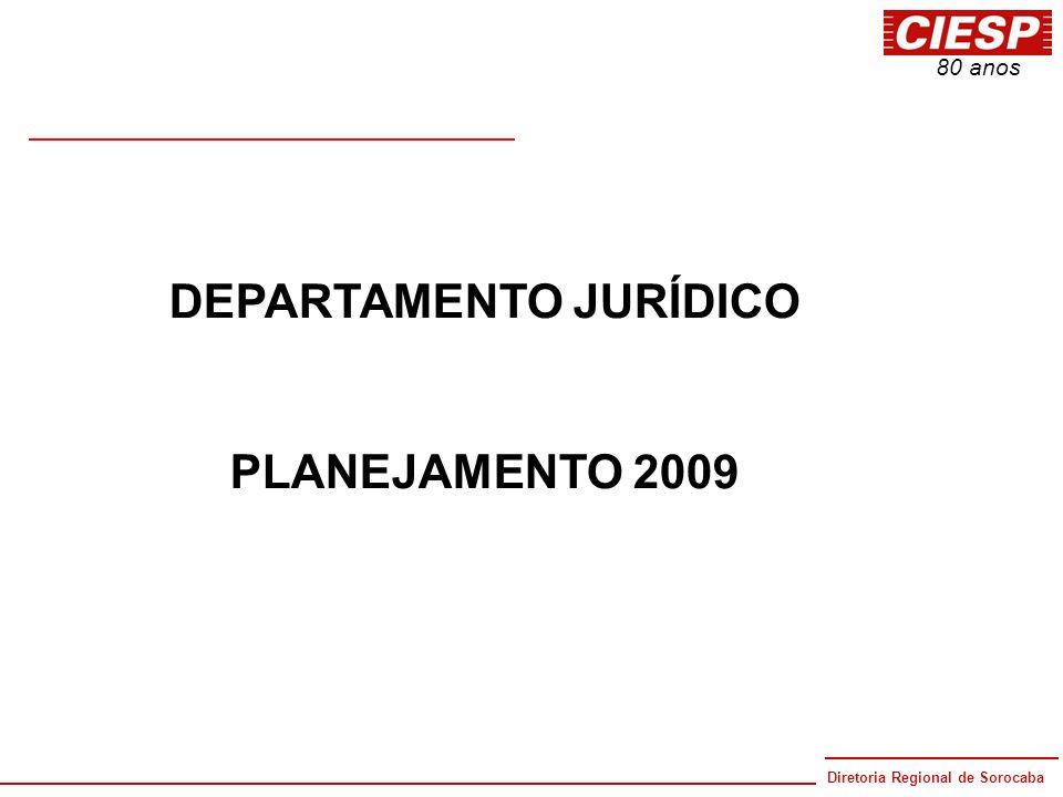 Diretoria Regional de Sorocaba 80 anos DEPARTAMENTO JURÍDICO PLANEJAMENTO 2009