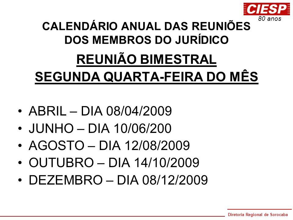 Diretoria Regional de Sorocaba 80 anos CALENDÁRIO ANUAL DAS REUNIÕES DOS MEMBROS DO JURÍDICO REUNIÃO BIMESTRAL SEGUNDA QUARTA-FEIRA DO MÊS ABRIL – DIA