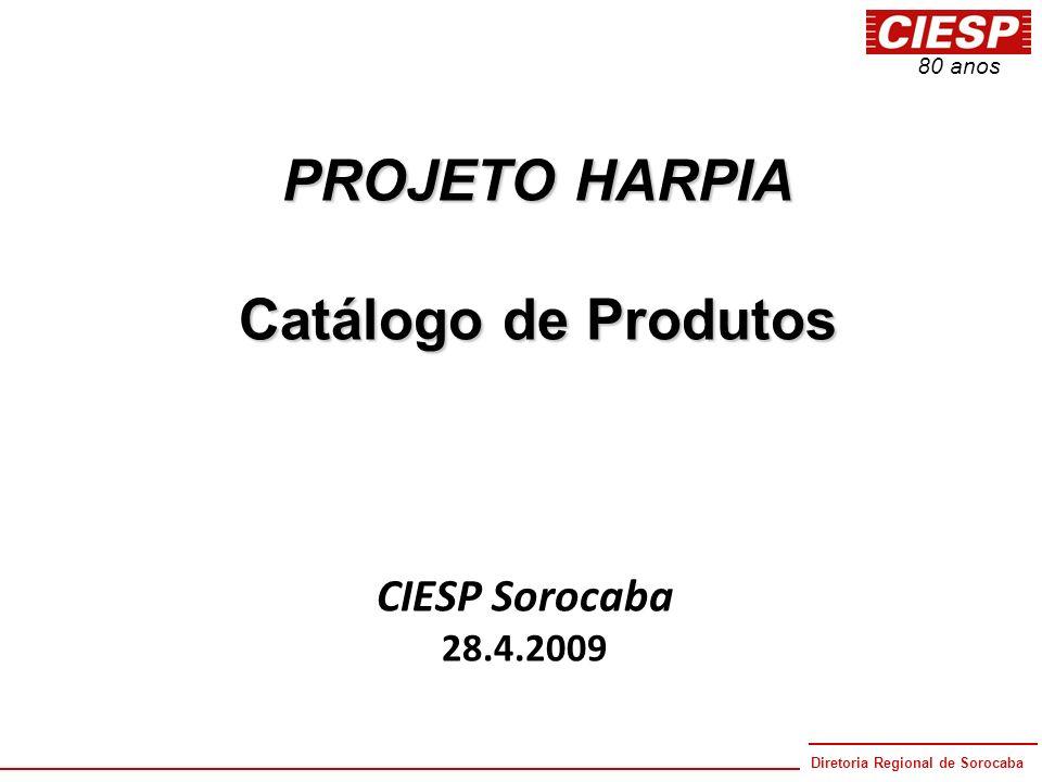 Diretoria Regional de Sorocaba 80 anos PROJETO HARPIA Catálogo de Produtos CIESP Sorocaba 28.4.2009