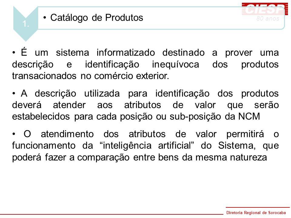 Diretoria Regional de Sorocaba 80 anos 1. Catálogo de Produtos É um sistema informatizado destinado a prover uma descrição e identificação inequívoca