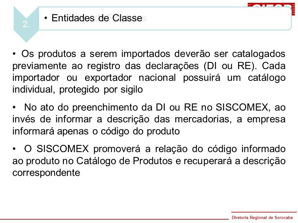 Diretoria Regional de Sorocaba 80 anos 1. Catálogo de Produtos Os produtos a serem importados deverão ser catalogados previamente ao registro das decl