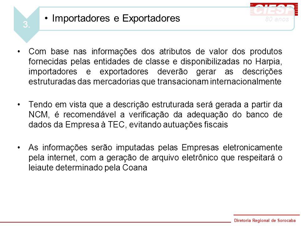 Diretoria Regional de Sorocaba 80 anos 3. Importadores e Exportadores Com base nas informações dos atributos de valor dos produtos fornecidas pelas en