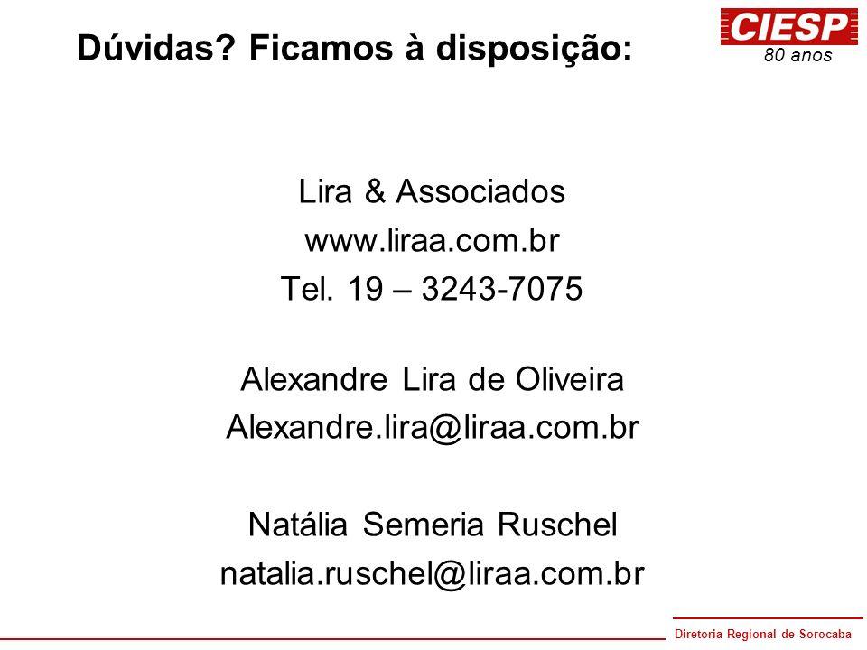 Diretoria Regional de Sorocaba 80 anos Dúvidas? Ficamos à disposição: Lira & Associados www.liraa.com.br Tel. 19 – 3243-7075 Alexandre Lira de Oliveir
