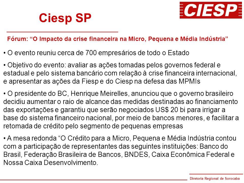 Diretoria Regional de Sorocaba 80 anos Ciesp SP Fórum: O Impacto da crise financeira na Micro, Pequena e Média Indústria O evento reuniu cerca de 700