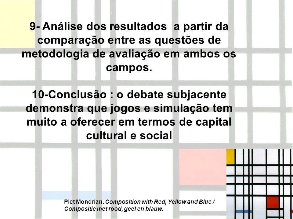 9- Análise dos resultados a partir da comparação entre as questões de metodologia de avaliação em ambos os campos. 10-Conclusão : o debate subjacente