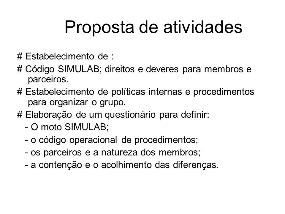 Proposta de atividades # Estabelecimento de : # Código SIMULAB; direitos e deveres para membros e parceiros. # Estabelecimento de políticas internas e