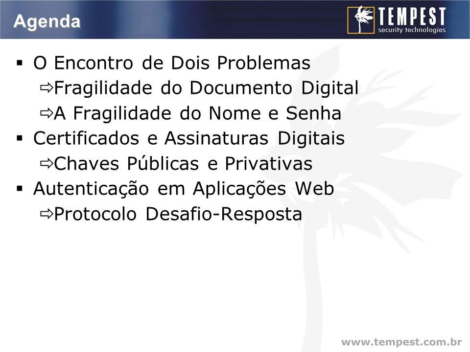 Agenda O Encontro de Dois Problemas Fragilidade do Documento Digital A Fragilidade do Nome e Senha Certificados e Assinaturas Digitais Chaves Públicas e Privativas Autenticação em Aplicações Web Protocolo Desafio-Resposta
