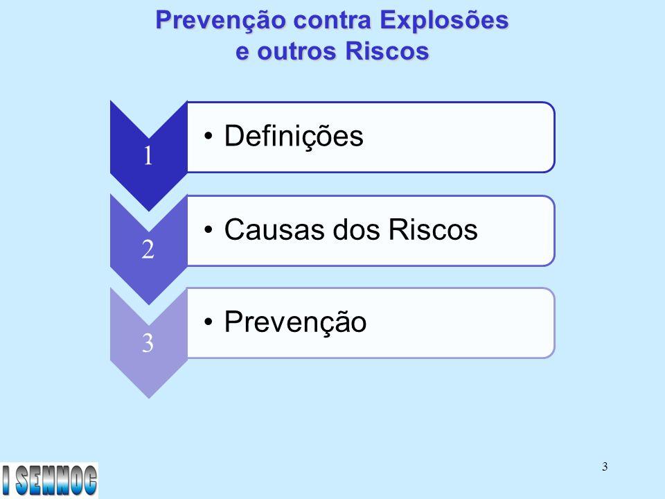 24 2 Causas dos Riscos - Erro Humano (Operação) - Manutenção incorreta - Materiais (corrosão, etc.) - Procedimentos incorretos - Processo (definição de consumo, etc.)