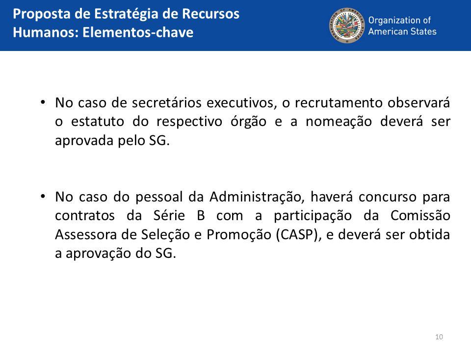 10 No caso de secretários executivos, o recrutamento observará o estatuto do respectivo órgão e a nomeação deverá ser aprovada pelo SG. No caso do pes