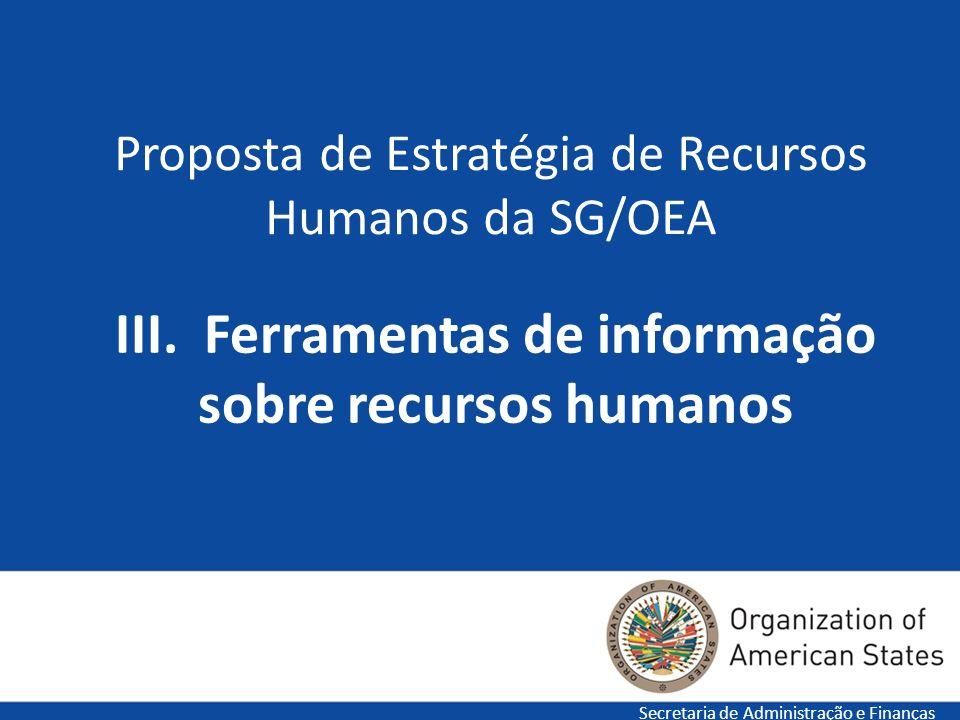 17 Proposta de Estratégia de Recursos Humanos da SG/OEA Secretaria de Administração e Finanças III. Ferramentas de informação sobre recursos humanos