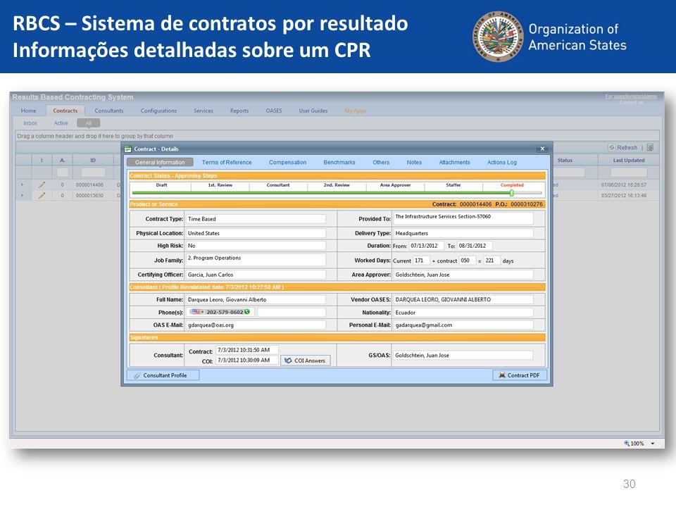 30 RBCS – Sistema de contratos por resultado Informações detalhadas sobre um CPR