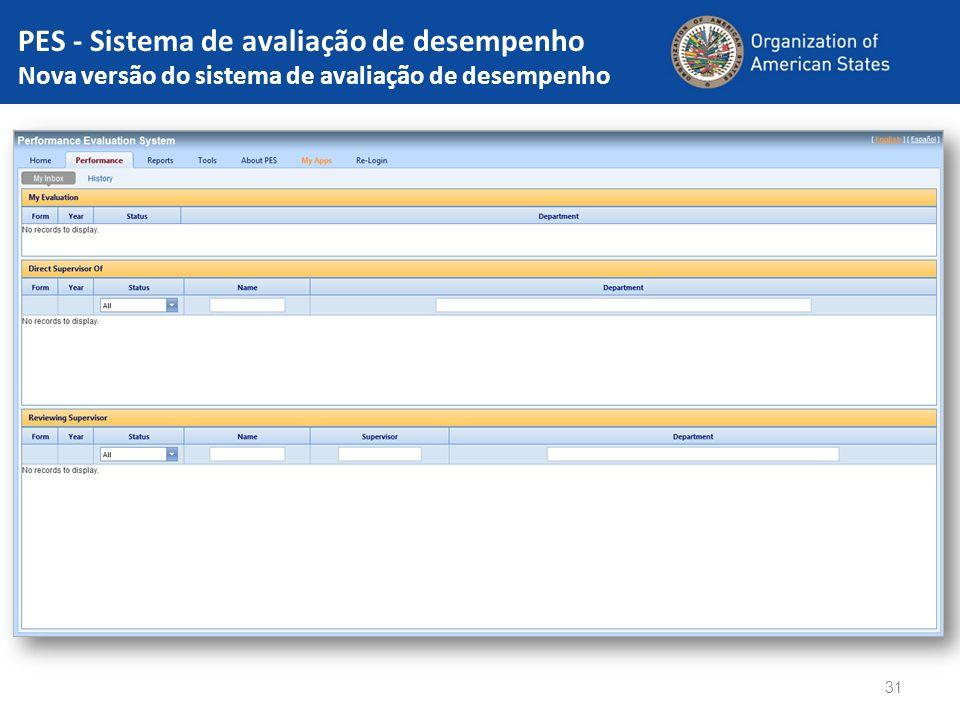 PES - Sistema de avaliação de desempenho Nova versão do sistema de avaliação de desempenho 31
