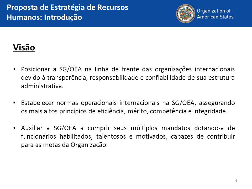 4 Visão Posicionar a SG/OEA na linha de frente das organizações internacionais devido à transparência, responsabilidade e confiabilidade de sua estrut