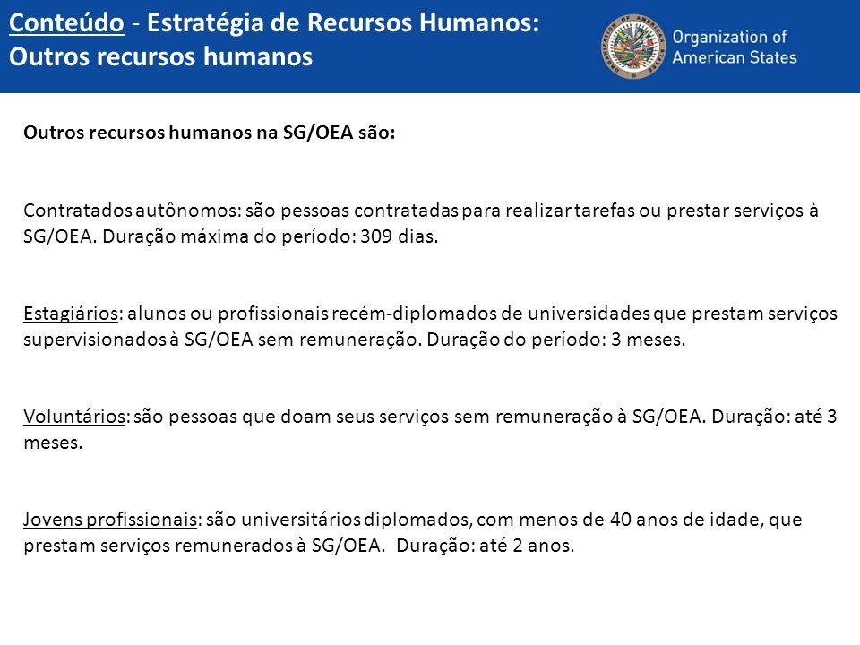 Outros recursos humanos na SG/OEA são: Contratados autônomos: são pessoas contratadas para realizar tarefas ou prestar serviços à SG/OEA. Duração máxi