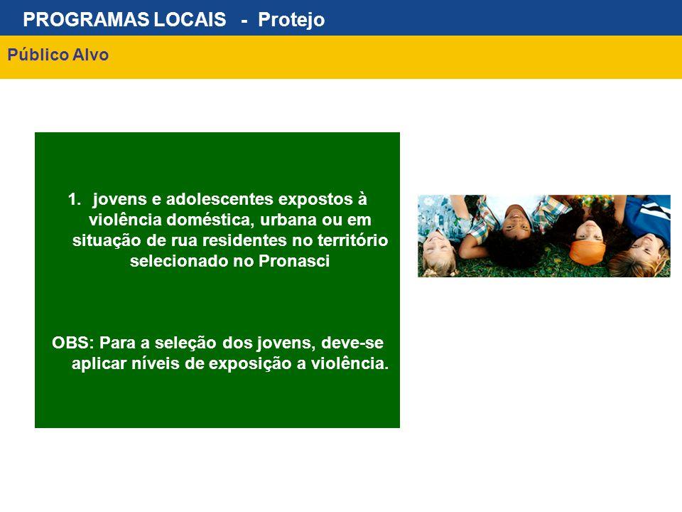 PROGRAMAS LOCAIS - Protejo Público Alvo 1.jovens e adolescentes expostos à violência doméstica, urbana ou em situação de rua residentes no território