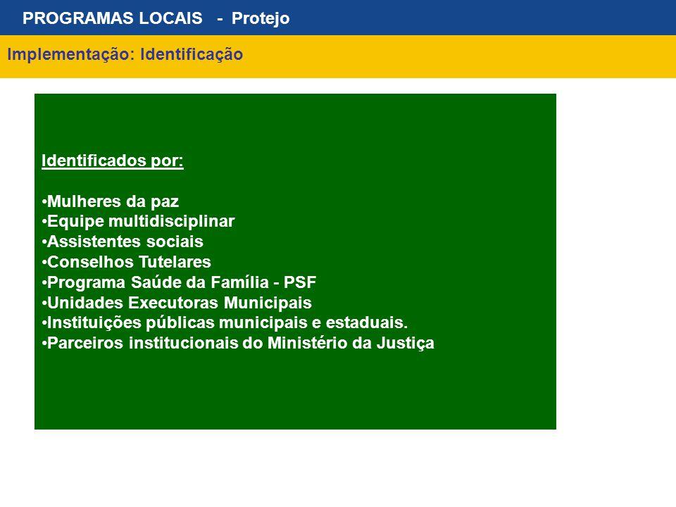PROGRAMAS LOCAIS - Protejo Implementação: Identificação Identificados por: Mulheres da paz Equipe multidisciplinar Assistentes sociais Conselhos Tutel