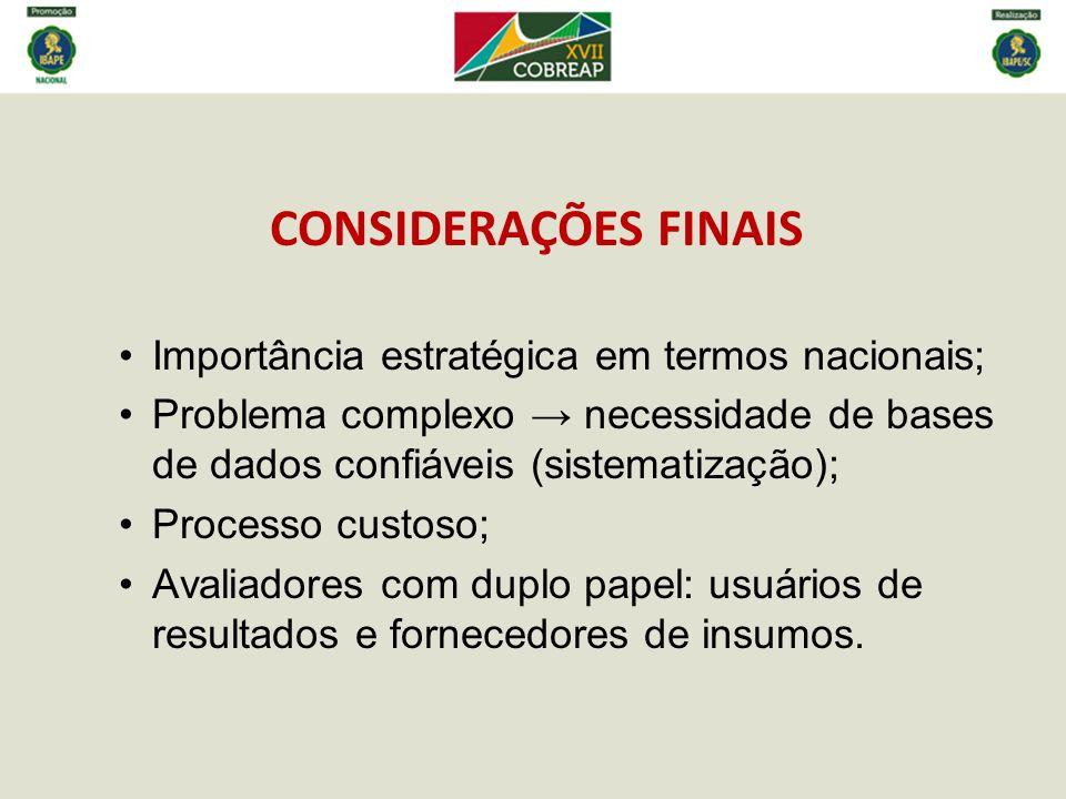 CONSIDERAÇÕES FINAIS Importância estratégica em termos nacionais; Problema complexo necessidade de bases de dados confiáveis (sistematização); Process