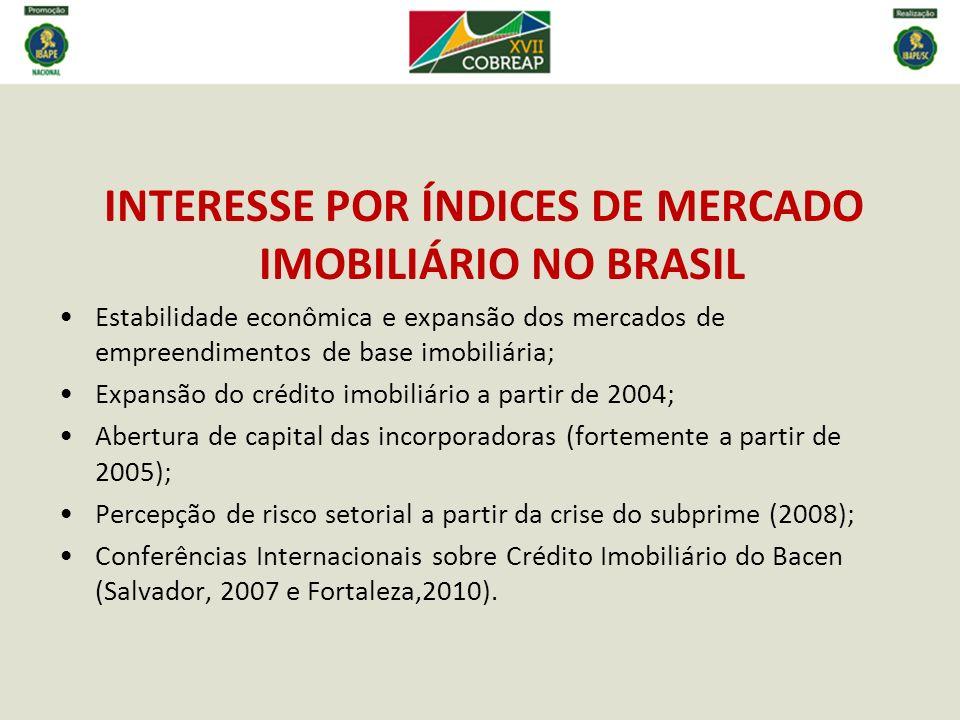 ÍNDICES DE MERCADO IMOBILIÁRIO EXISTENTES NO BRASIL FGV – IGMI-C (2010) – retroage a janeiro de 2000 (dados ABRAPP) FIPE - FIPE-ZAP (2011) – retroage a janeiro de 2008 (SP) BACEN – IVG-R (2013) – retroage a março de 2001 CAIXA – IEPMI-H – 2013 (?)