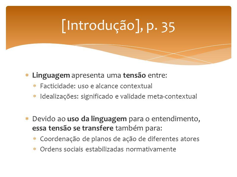 Linguagem apresenta uma tensão entre: Facticidade: uso e alcance contextual Idealizações: significado e validade meta-contextual Devido ao uso da ling