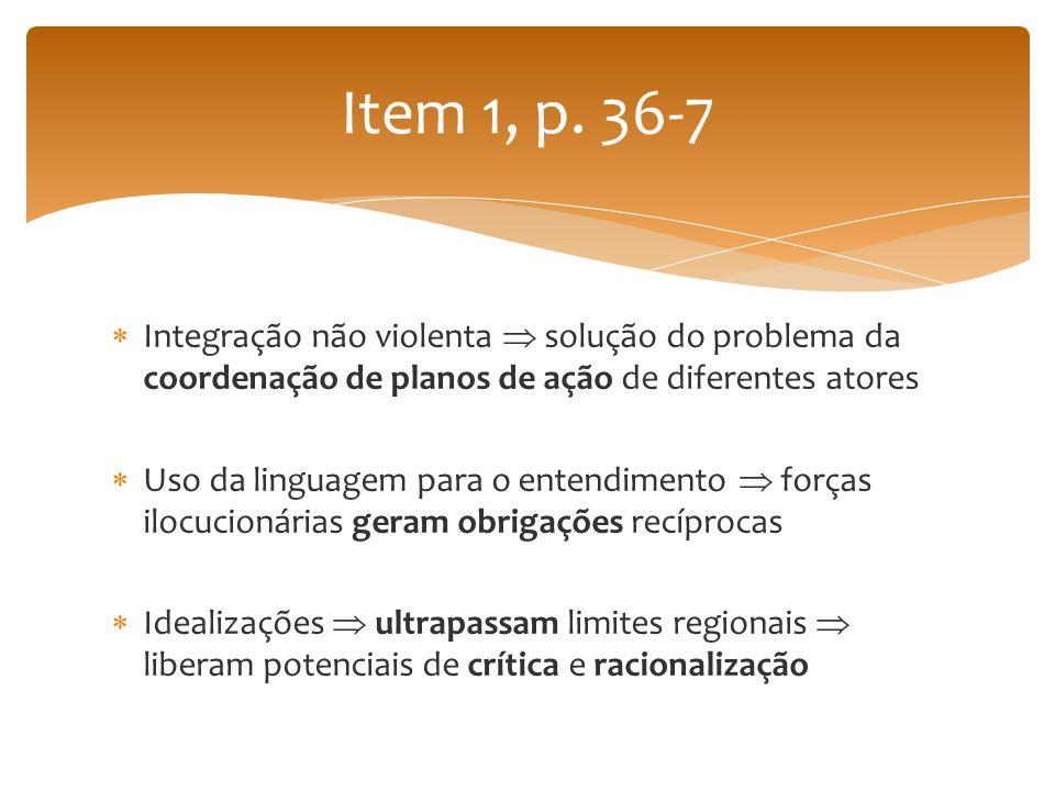Integração não violenta solução do problema da coordenação de planos de ação de diferentes atores Uso da linguagem para o entendimento forças ilocucio