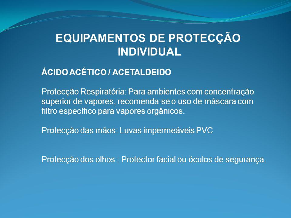 EQUIPAMENTOS DE PROTECÇÃO INDIVIDUAL ÁCIDO ACÉTICO / ACETALDEIDO Protecção Respiratória: Para ambientes com concentração superior de vapores, recomend